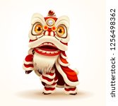 chinese new year lion dance.... | Shutterstock .eps vector #1256498362