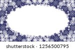 vector frame with snowflakes on ... | Shutterstock .eps vector #1256500795
