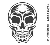 white graphic human skull with... | Shutterstock .eps vector #1256516968