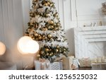 gold christmas background of de ... | Shutterstock . vector #1256525032