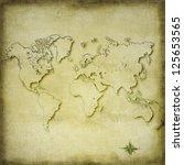 vintage sepia world map...   Shutterstock . vector #125653565