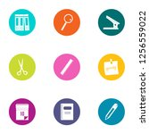 paper icons set. flat set of 9... | Shutterstock . vector #1256559022