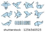 origami animals collection.... | Shutterstock .eps vector #1256560525
