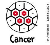 illustration of cells cancer... | Shutterstock .eps vector #1256561875