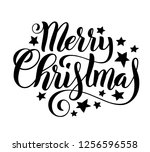 merry christmas handwritten... | Shutterstock . vector #1256596558