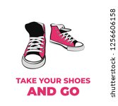 sneakers converse shoes pair... | Shutterstock .eps vector #1256606158