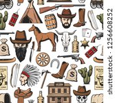 wild west seamless pattern...   Shutterstock .eps vector #1256608252