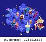 people watching movie in cinema ... | Shutterstock .eps vector #1256616538