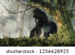a big hairy ape waits at the... | Shutterstock . vector #1256628925