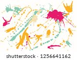 hand drawn set of colorful ink... | Shutterstock .eps vector #1256641162