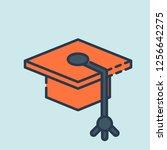 graduation cap vector icon.... | Shutterstock .eps vector #1256642275