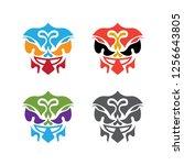 set of abstract polynesian... | Shutterstock .eps vector #1256643805
