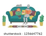 robot with child reading book... | Shutterstock .eps vector #1256647762