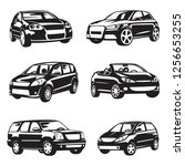 collection of black cars... | Shutterstock .eps vector #1256653255