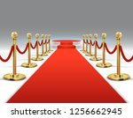 elegant red carpet with round... | Shutterstock . vector #1256662945