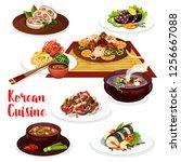 korean cuisine kimchi  meat and ... | Shutterstock .eps vector #1256667088