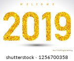 happy new year 2019 calendar... | Shutterstock .eps vector #1256700358