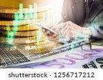 double exposure businessman and ... | Shutterstock . vector #1256717212