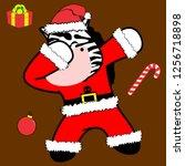 dab dabbing pose zebra xmas... | Shutterstock .eps vector #1256718898