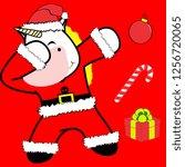 dab dabbing pose unicorn xmas... | Shutterstock .eps vector #1256720065