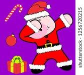 dab dabbing pose pig xmas claus ... | Shutterstock .eps vector #1256720215
