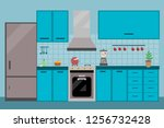 kitchen interior dining flat... | Shutterstock .eps vector #1256732428