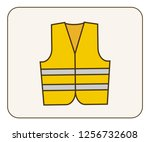 protest yellow jackets paris... | Shutterstock .eps vector #1256732608