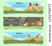 stone age web banner template... | Shutterstock .eps vector #1256758975
