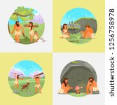 stone age set. vector flat... | Shutterstock .eps vector #1256758978