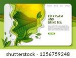 green tea landing page website... | Shutterstock .eps vector #1256759248