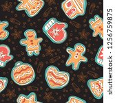 seamless pattern with cute... | Shutterstock .eps vector #1256759875