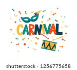 carnival hand lettering text as ... | Shutterstock .eps vector #1256775658