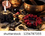 black candles with skulls  rose ... | Shutterstock . vector #1256787355