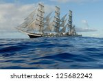 Sailing Ship In The Ocean With...