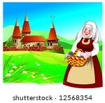 smiling young woman in a folk... | Shutterstock .eps vector #12568354
