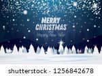 winter snowy night forest... | Shutterstock . vector #1256842678