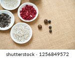 top view of table with plates... | Shutterstock . vector #1256849572