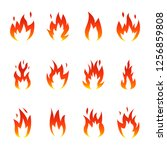flame fire icons set. vector... | Shutterstock .eps vector #1256859808