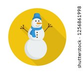 snowman icon in flat style with ... | Shutterstock .eps vector #1256861998