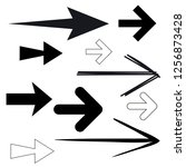 black arrows. simple outline... | Shutterstock .eps vector #1256873428