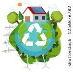 green energy recycle logo... | Shutterstock .eps vector #1256876782