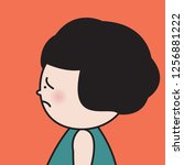 closeup profile girl with sad... | Shutterstock .eps vector #1256881222