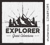 wanderlust camping badge. old...   Shutterstock .eps vector #1256891395