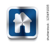 square metal button with house...