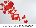 beautiful paper red hearts on... | Shutterstock . vector #1256914888