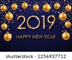 2019 happy new year. vector... | Shutterstock .eps vector #1256937712