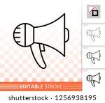 megaphone thin line icon.... | Shutterstock .eps vector #1256938195