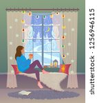 girl sits by the christmas... | Shutterstock .eps vector #1256946115