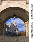 Gate of the Fisherman's Bastion in Buda, Budapest, Hungary - stock photo