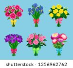 flowering bouquets set isolated ... | Shutterstock . vector #1256962762